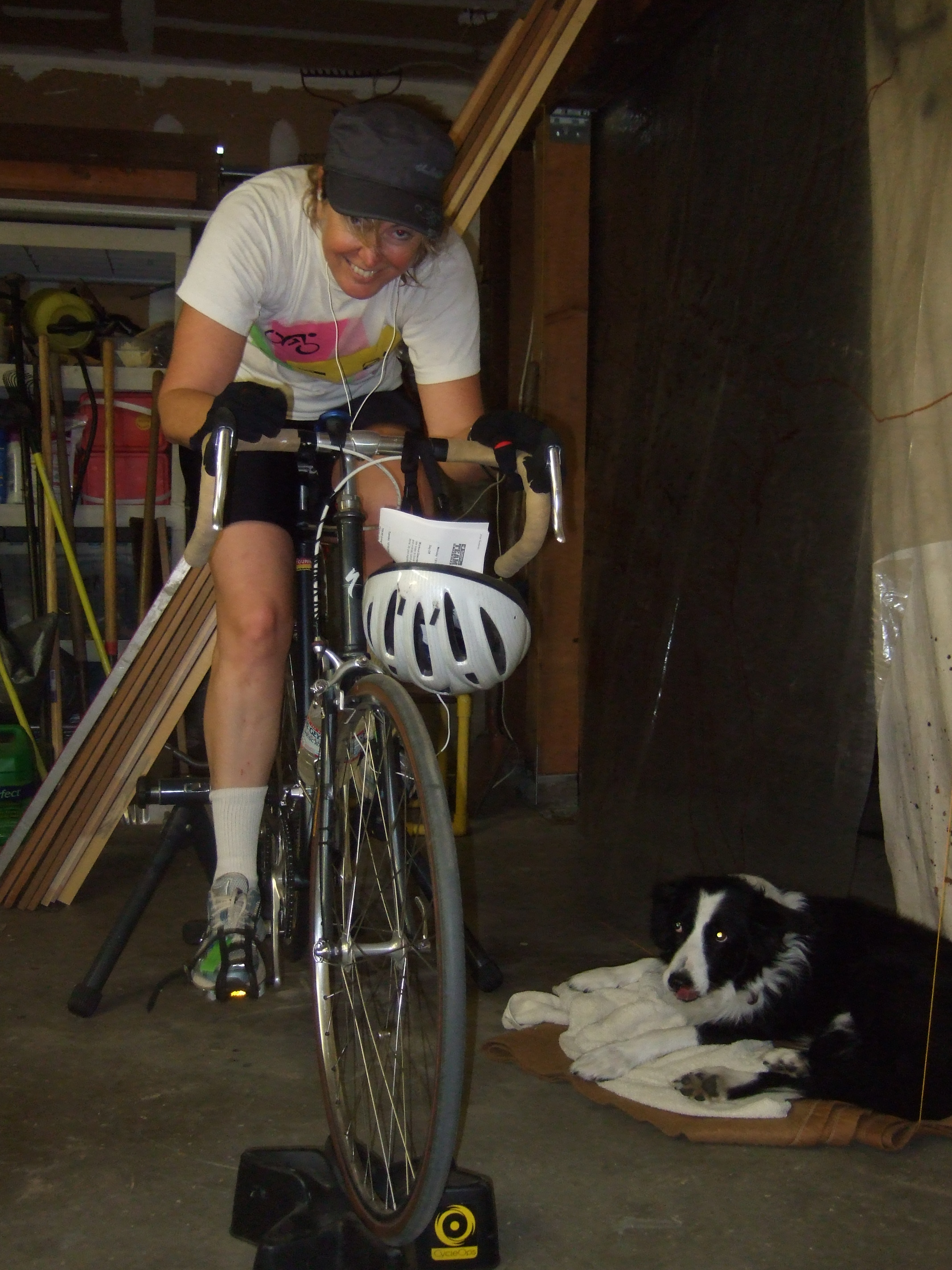 Jakie and Sandy trainin' in the garage