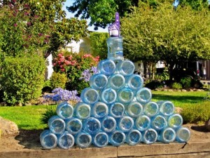 water bottle pyramid at one of the run water stops