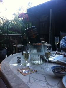 empty champagne bottle at tom and jans