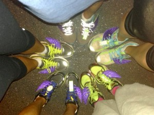 """April, Lois, Trish, Anne and my """"Shwings"""" (shoe wings), courtesy of Trish."""