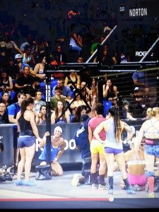 Amanda is the one in black standing. All the other gals are the Top 10 cheering her on.