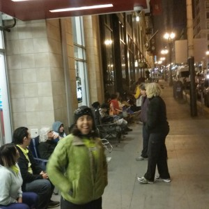 Moddie and the line in front of us at 4 a.m.