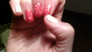 my Amazing Race Flag nails. Hard to see the thumb and pinkie are glitter yellow ;-)