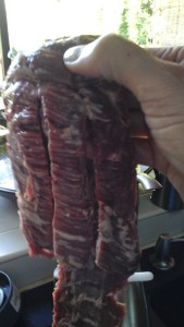 this is the meaty end of the skirt steak - as you can see, I get 3 strips on this side.